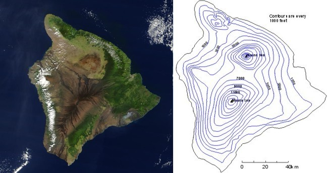A view of Hawaii from space, side-by-side with a contour map of the same island.