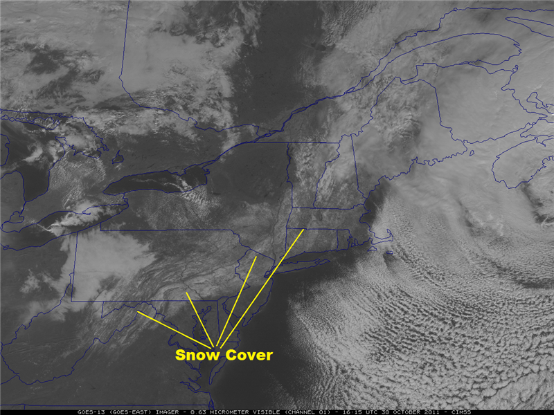 A visible satellite image of the northeast U.S. demonstrating how snow cover can appear.