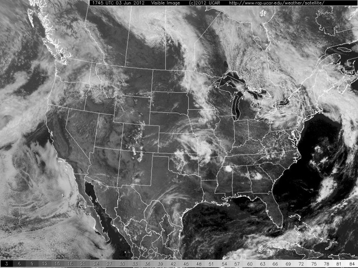 A visible satellite image of the United States.