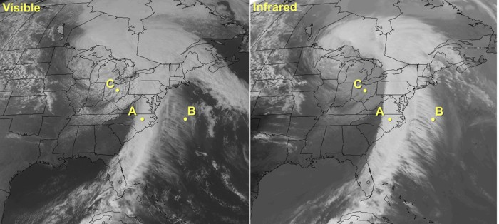 Side-by-side comparison of a visible and IR satellite image.