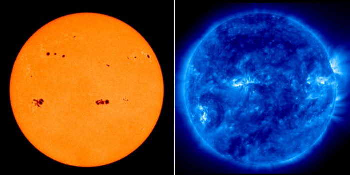 A view of the sun in the visible and untraviolet portions of the spectrum.